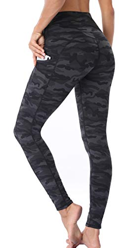 Oalka Women Yoga Pants Workout Running Leggings Outside Pockets Multi Camo Grey M