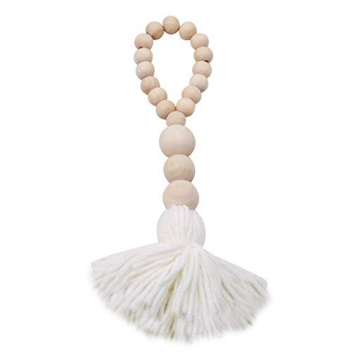 GOMYIE Holzperle Girlande mit Quasten Bauernhaus Perlen rustikale Land Dekor Gebetskette Wandbehang Dekor (weiß)