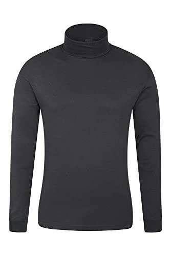 Mountain Warehouse Camiseta térmica Interior Meribel para Hombre - 100% algodón Peinado, Cuello Vuelto, Transpirable, Secado rápido y Mangas Ajustadas, fácil Cuidado, Invierno Negro L