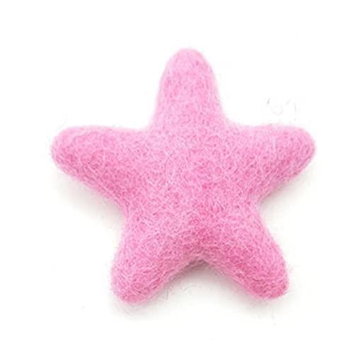 Obelunrp Felones de Lana Forma de Estrella Artesanía de Costura DIY Poke Wool Felts Hecho a Mano para Navidad Fieltro Decoración Interior 6 cm Pink Fieltro en Forma de Estrella Bola