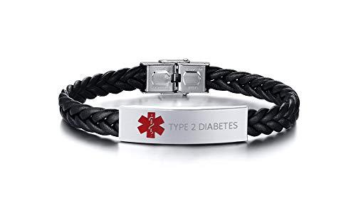 XUANPAI Type 2 Diabetes Handgefertigtes Geflochtenes Mikrofaser-Lederwickelarmband Medizinischer Alarm Notfall SOS ID Tag Name Identifikation Armband für Männer