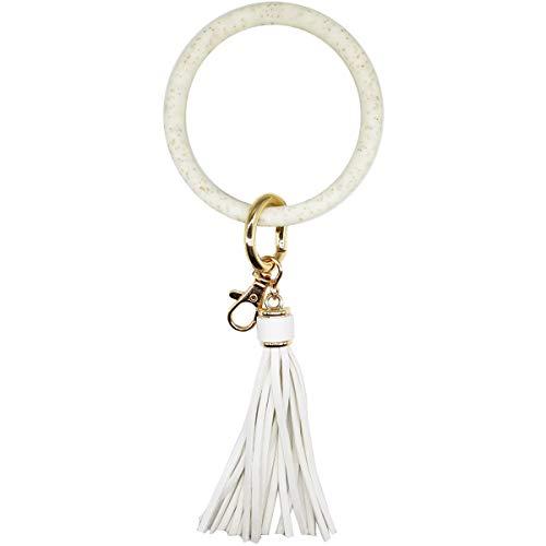 AnnabelZ Schlüsselanhänger Armband Armband Armreif Silikon Schlüsselhalter Rund Schlüsselanhänger Quaste Schlüsselanhänger Kette für Frauen Mädchen
