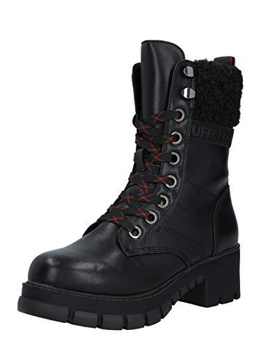 Buffalo Damen Stiefel Montgomery, Frauen Schnürstiefel, feminin elegant Women's Women Woman Freizeit Boots Combat Lady,Schwarz(Black),39 EU / 6 UK