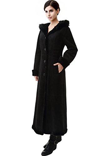 Price comparison product image BGSD Women's Pauline Hooded Faux Shearling Maxi Walking Coat Black Medium