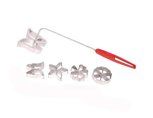 MBB Rosetten-Set Waffel-Formen 4 Design Schmetterling Stern Baum Rad mit Hebewerkzeug