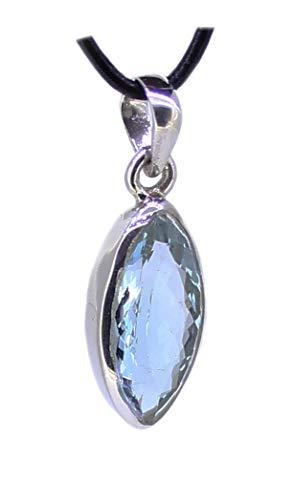 budawi® - Blauer Topas Anhänger facettiert 925er Silber, Topasanhänger