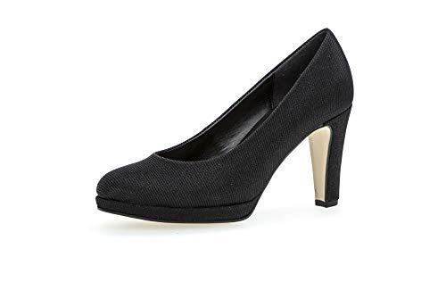 Gabor Damen Pumps, Frauen Plateaupumps,Soft & Smart, stoeckelschuhe Ausgehschuhe Abendschuhe Court Shoes Plateau-Absatz Dicke,schwarz,41 EU / 7.5 UK
