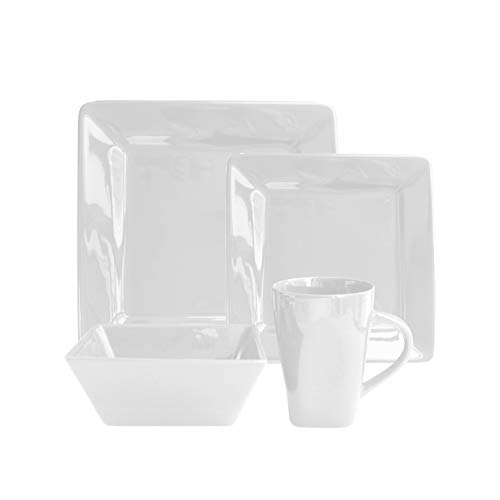 American Atelier Kingsley Casual Square Dinnerware Set – 16-Piece Stoneware Party Collection w/ 4 Dinner Salad Plates, 4 Bowls & 4 Mugs – Unique Gift Idea, White-16