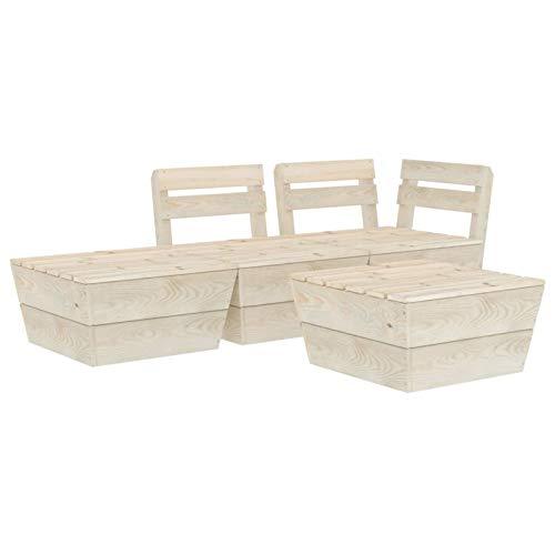 Tidyard Muebles de palets para jardín Conjunto Sofa Palet 4 pzas Madera de Abeto impregnada 3#