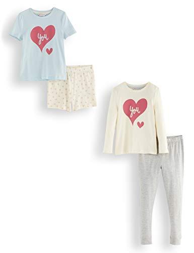 Amazon-Marke: RED WAGON Mädchen Pyjama-Set aus Baumwolle, 2er-Pack, Mehrfarbig (Dino), 104, Label:4 Years