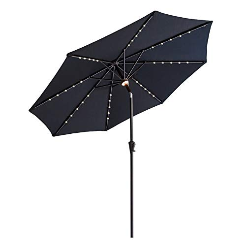 C-Hopetree 2.75m Diameter LED Lighted Outdoor Garden Table Market Parasol with Push Button, Black