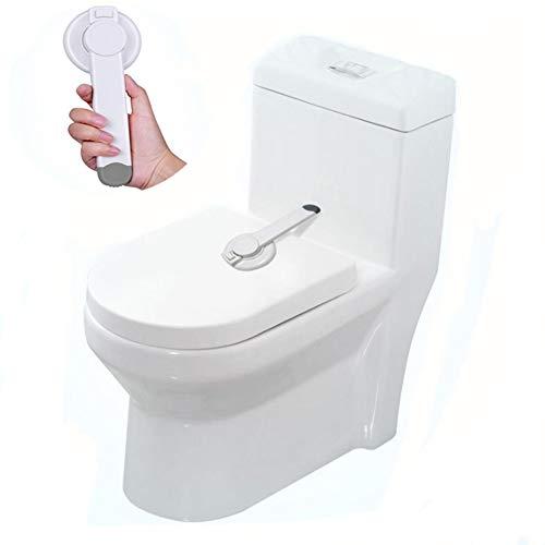 RUNI MO Sicherheits-WC-Schlösser - Badezimmer Baby Kindersicheres Sicherheits-WC-Sitzdeckelschloss - WC-Deckelschloss mit Arm 3M Klebebefestigung (White, 8.4 x 3.4)