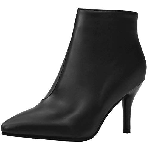 COOLCEPT Damen Elegent High Heels Short Stiefel Pointed Toe Abend Ankle Stiefel Solid Herbst Low Boots Reißverschluss Black Gr 46 Asian