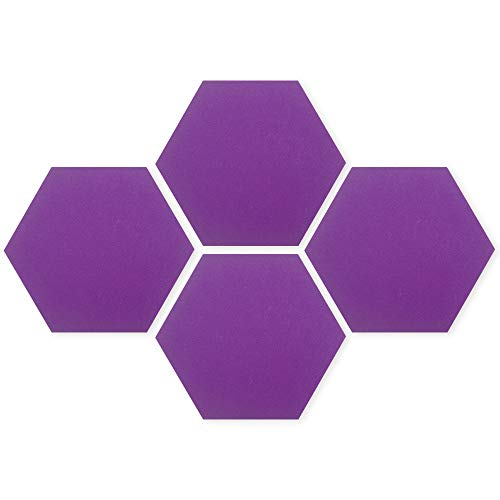 HIFELTY 4 Pcs Purple Bulletin Boards, Hexagon Felt Pin Boards Self Adhesive Notice Pads for Pictures Memos Notes Display and Wall Decor, 20 x 17 cm