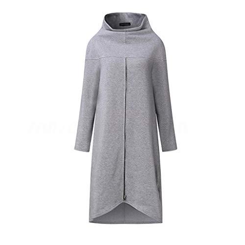 GOKOMO Damen Pullover Kleid mit Reißverschluss Pullover Hoodie Lange Tops Langarm Sweatshirt Casual Täglich Herbst Pulli Kleider Sweatjacke(Grau,Large)