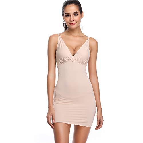 Joyshaper Miederkleider für Damen Bodycon Kleid Unterröcke Unterkleid Full Slips Underskirt Unterrock Unterwäsche Nahtlose Nachthemd Nachtwäsche Nachtkleid (Beige-101, Large/X-Large)