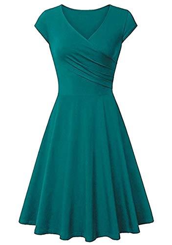 YMING Frauen Elegant Skater Kleid Casual Swing Kleid V-Ausschnitt Kleid Hellgrün M