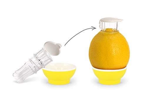 Patent-Safti Entsafter I Der Originale Safti Ausgießer für Zitronen, Orangen etc. I Einfacher als Jede Zitronenpresse oder Saftpresse I BPA frei, (Gelb)