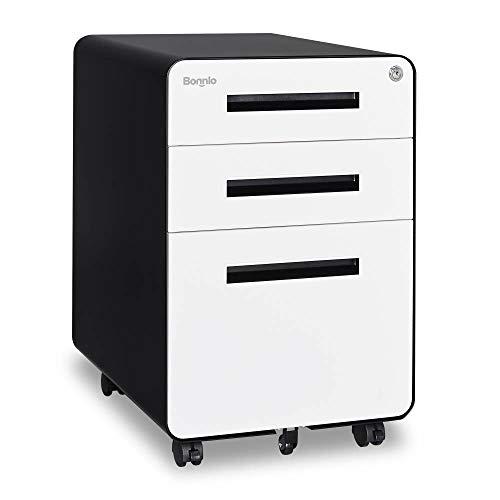 Bonnlo Metal Filing Cabinet on Wheel for Home/Office, Fully Assembled, Black&White