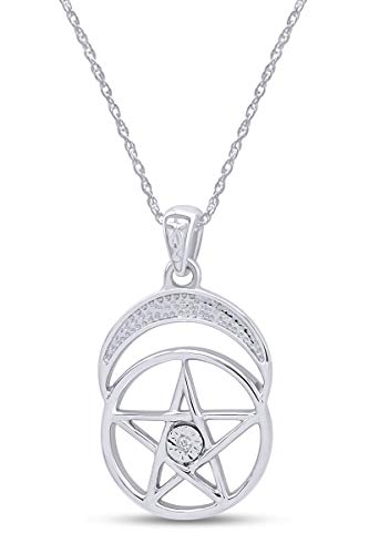 AFFY Pentacle Pentagram Moon Pendant Necklace in 14k White Gold Over Sterling Silver Round Cut White Cubic Zirconia