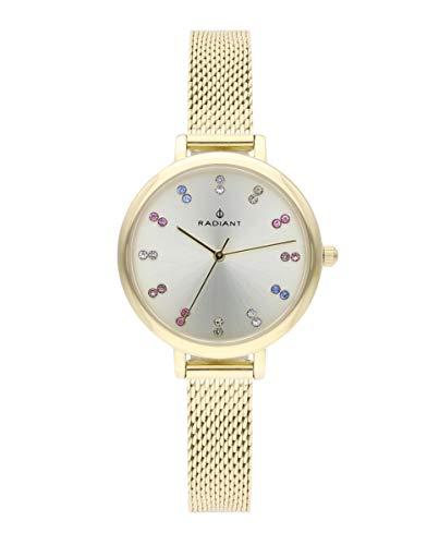 Reloj analógico para Mujer de Radiant. Colección Selene. Reloj Dorado con Esfera Plata con pedrería Multicolor. 3ATM. 32mm. Referencia RA513603.
