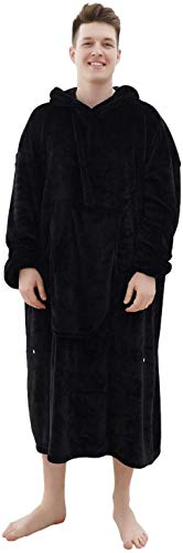 Fomoom Long Wearable Blanket, Oversized Cozy Blanket Hoodie for Women, Men and Teens, Sweatshirt Fleece Blankets Robe with Sleeves Large Pocket, One Size Fits All