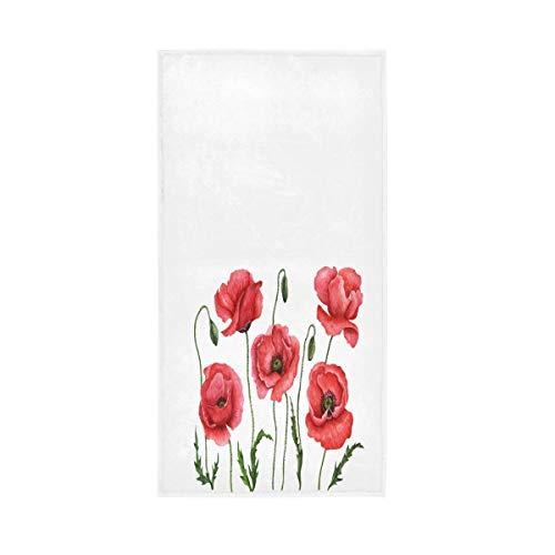 Ahomy Toallas de mano de 16 x 30 en acuarela amapolas flores rostro toalla dedo para baño, hotel, gimnasio y spa