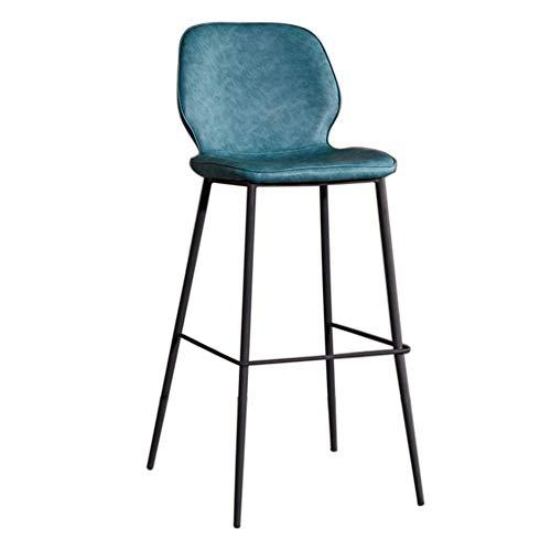 Ljings Thekenhocker Aus Sattel Retro Kunstleder, Mit Rücken Und Metallbeinen Gepolstert, Barhocker Küche Thekenhocker Esszimmerstühle,Retro Blue,65cm