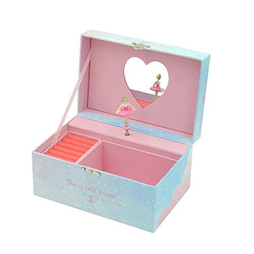 HJJH caja de música regalo musical Joyero con bailar chica figuras caja de música unicornio caja de música joya caja de almacenamiento para niñas con soporte de anillo, azul la caja de música