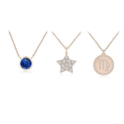 Sapphire Virgo Zodiac Star Medallion Layered Necklace in 14K Rose Gold (4mm Blue Sapphire)