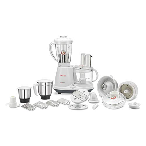 McCoy Super Chef 600-Watt Food Processor with Mixer Grinder Juicer with 3 Jars   18 Extra Attachments (White/Grey)