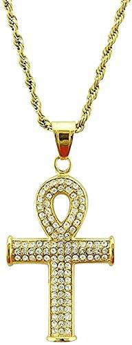 Collar Collar Hip Hop Cruz egipcia Colgante de diamantes de imitación completo Hombres Llave de la vida Collar de crucifijo Mujeres Joyas con dijes de oro Regalo para mujeres Hombres Collar de regalo