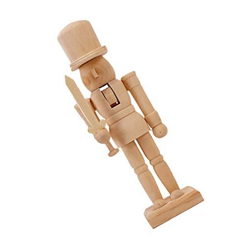 Wakauto Figurines en bois Casse-noisette - Poupée soldat en bois - Casse-noisette - Pour Noël ou le Nouvel An - Pour enfants - Petit artisanat - Statut réglable