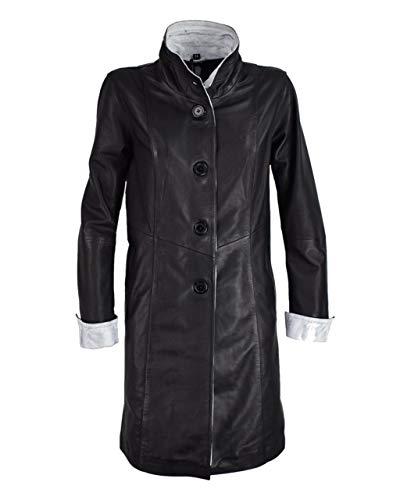 COCO BLACK LABEL since1986 Damen Ledermantel Langer Mantel für Damen Lederjacke Merry rot schwarz blau weiß, Größe:52, Farbe:Schwarz