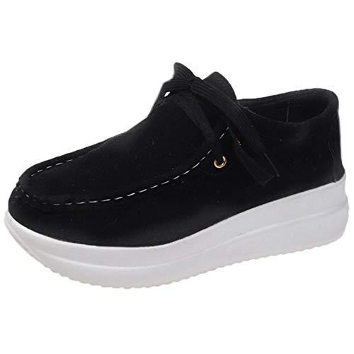 Zapatos de Plataforma para Mujer con Cordones Diarios Suela Gruesa usable Zapatillas Gruesas Zapatos Creepers Suaves Caminata Diaria