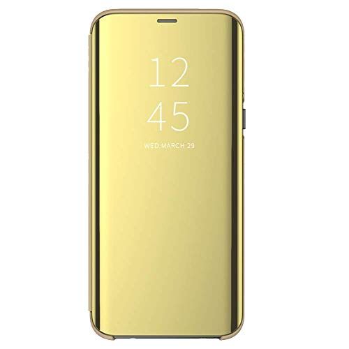 Funda para Xiaomi Mi A2 Lite Suave + Duro Carcasa Espejo Mirror Flip Caso Ultra Delgada Shock Caja del Teléfono Translucent Window View (Dorado, Xiaomi Mi A2 Lite)