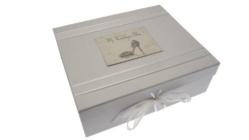 white cotton cards - Caja para guardar recuerdos de la boda (tamaño grande), diseño con...