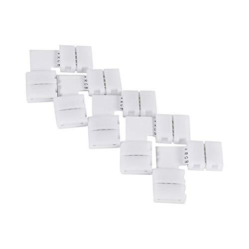 Fdit 5 piezas en forma de L 4 pines 10 mm Conectores de esquina sin soldadura Adaptadores para luces de tira LED RGB 5050 LED Cinta de tira de luz LED sin soldadura RGB Conectores de esquina de 90 gra