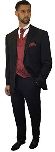 Paul Malone Anzug Hochzeitsanzug Set 7tlg schwarz + Hochzeitswesten Set weinrot + Hochzeitshemd weiß