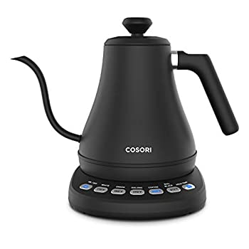 COSORI CO108-NK Electric Gooseneck 0.8L 5 Variable Presets Pour Over Kettle & Coffee Kettle 100% Stainless Steel Inner Lid & Bottom Matte Black