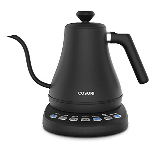 COSORI Electric Gooseneck Kettle with 5 Variable Presets, Pour Over Coffee Kettle & Tea Kettle, 100% Stainless Steel Inner Lid & Bottom, 1200 Watt Quick Heating, 2-year Warranty, 0.8L, Matte Black