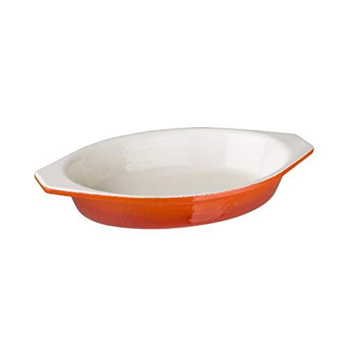 Vogue Gh318 ovale en fonte à gratin, grande, Orange,