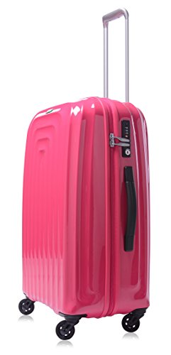 Lojel Wave Polycarbonate 24-inch Upright Spinner Luggage-24, Pink