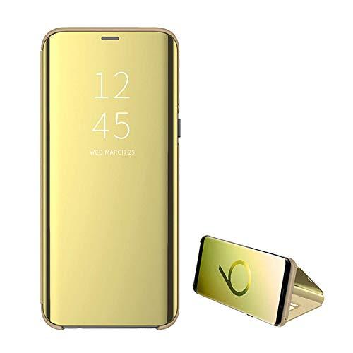 Handyhülle für Galaxy S7,für Samsung Galaxy S7Edge Handy Schutzhüllen mit Spiegel Clear View Standfunktion Cover 360 Grad Stoßdämpfung Hülle Kratzfeste Flip Slim für Samsung s7 Blau (S7, Gold)
