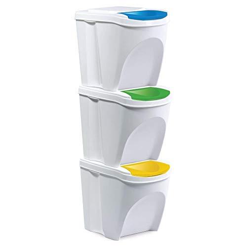 ORION GROUP Mülleimer Abfalleimer Mülltrennsysteme Müllbehälter mit Deckel für die Küche geruchsdichter set 3 Stück