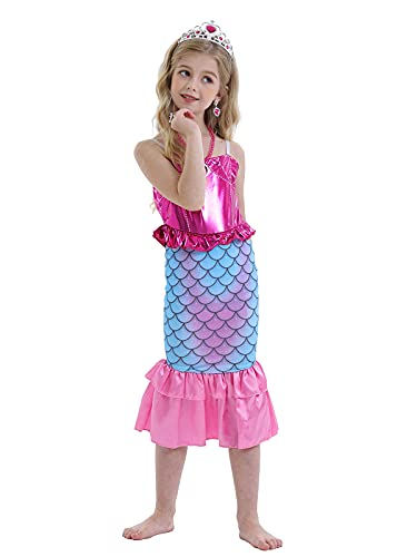 WonderBabe Girl Mermaid Princess Costume Fancy Dress Up Holiday Party Cosplay Dresses Kids Carnival Outfit Age 11-12 Anni