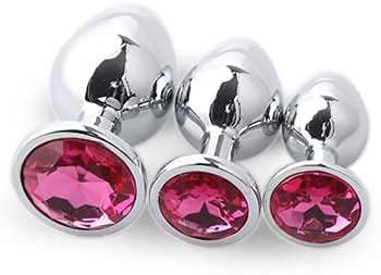 3 PCS/Set Metal Ánâl Plûgs Luxury Jewelry Training Set Stainless Steel ex Tòys for Àmal plùgs for Women Beginners Set  Pink