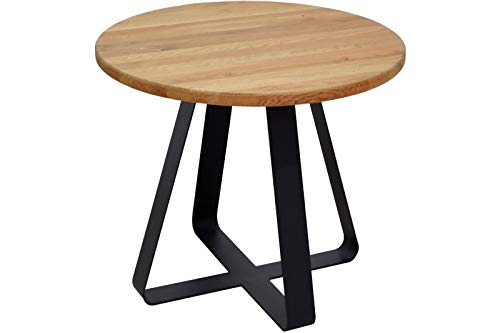 SAM Couchtisch 50x50cm Frank, Wildeiche massiv + geölt, runder Sofatisch mit schwarzem Metallgestell, Industrial-Design