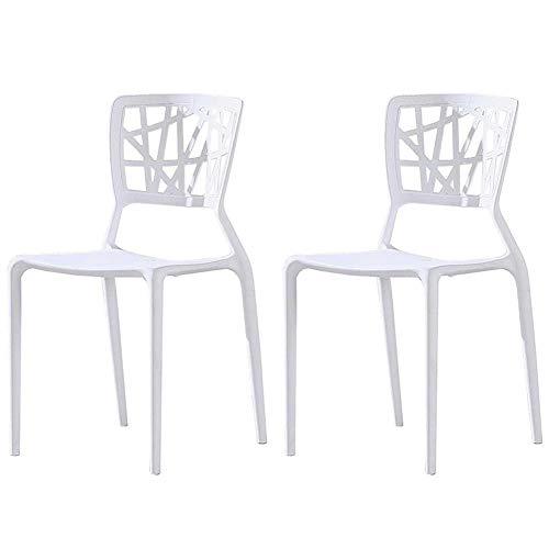 AGGF Juego de sillas de Comedor de 2 sillas de Mesa con Respaldo apilable de Estilo nórdico, Silla de plástico para café de Ocio, Silla de recepción (Color: Blanco)