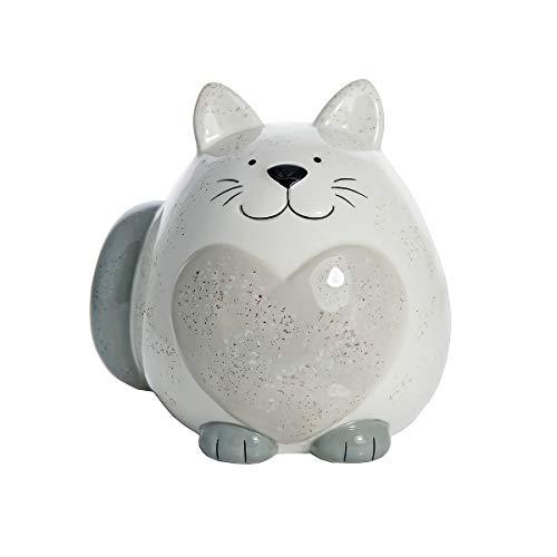 SPOTTED DOG GIFT COMPANY Katze Spardose Sparschwein Keramik Deko Figur weiß mit grau Herz 13 cm Geschenk für Kinder und Erwachsene Mädchen Jungen Katzenliebhaber